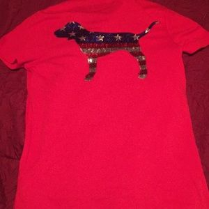 PINK Victoria's Secret Tops - Red white and blue Victoria Secret bling t shirt